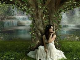 waiting under tree girl