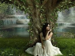 waiting under tree girl