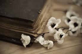 vintage book flowers